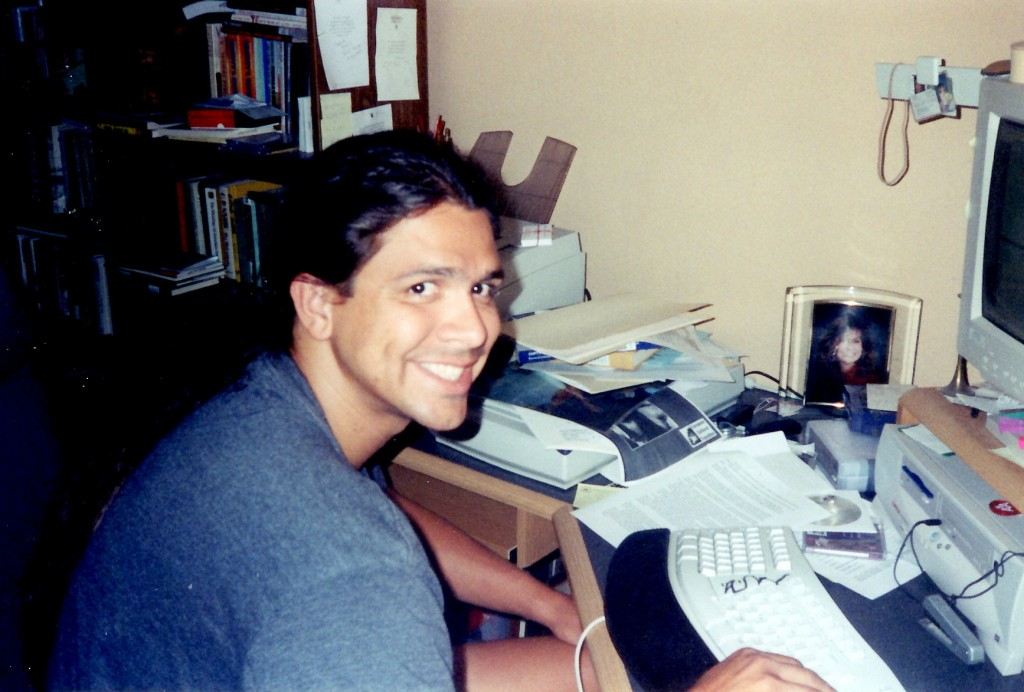pretty sure this is me writing ATBS in 2002, in the Spring, when my office was also the bedroom. Or, when there was a bed in my office.