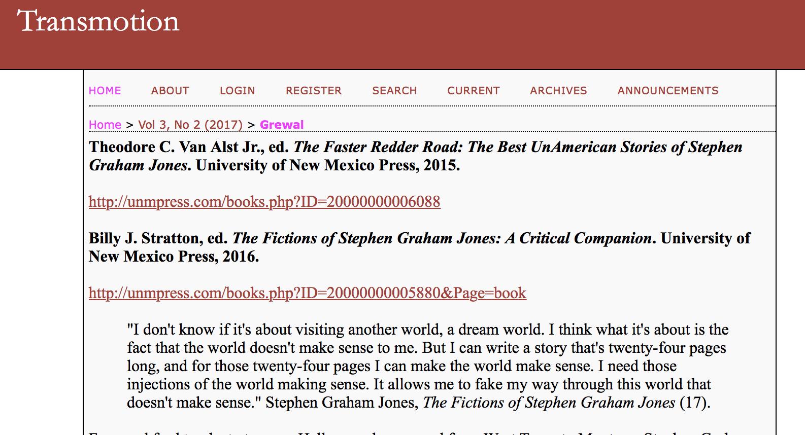 Ed Jones Login >> Couple Of Kind Reviews And An Article Stephen Graham Jones
